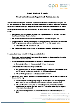 Brexit 'No Deal' Scenario Construction Products Regulation & Related Aspects